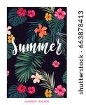 tropical vector postcard design ...   Shutterstock .eps vector #663878413
