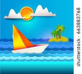 paper art carving with sea ... | Shutterstock .eps vector #663883768