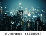 night city backdrop with... | Shutterstock . vector #663885064