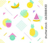 summer seamless pattern with... | Shutterstock . vector #663888430