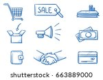 set with different finannce and ... | Shutterstock .eps vector #663889000