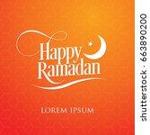 happy ramadan orange background ...   Shutterstock .eps vector #663890200