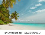 tropical sand beach | Shutterstock . vector #663890410
