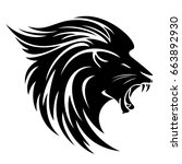 lion head side view tribal... | Shutterstock . vector #663892930