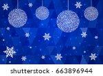 dark blue vector christmas... | Shutterstock .eps vector #663896944