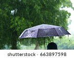 a person with umbrella in... | Shutterstock . vector #663897598