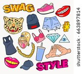 swag style teenage fashion... | Shutterstock .eps vector #663897814