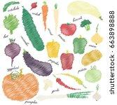 set of color vector vegetables... | Shutterstock .eps vector #663898888