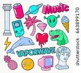 vaporwave teenager style doodle ... | Shutterstock .eps vector #663899170