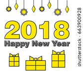happy new year  yellow  offset... | Shutterstock .eps vector #663900928
