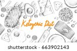 ketogenic diet sketch pencil... | Shutterstock . vector #663902143