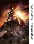 ancient warrior or gladiator... | Shutterstock . vector #663904198