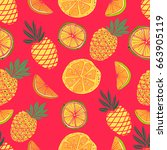 hand drawn seamless pattern.... | Shutterstock . vector #663905119