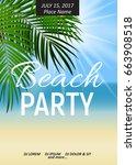 summer night beach party poster.... | Shutterstock .eps vector #663908518