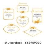 gold floral border. golden... | Shutterstock .eps vector #663909010