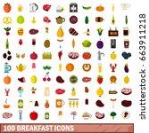 100 Breakfast Icons Set In Fla...
