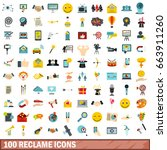 100 reclame icons set in flat... | Shutterstock .eps vector #663911260