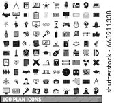 100 plan icons set in simple... | Shutterstock .eps vector #663911338
