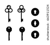 vintage keys and keyholes signs ... | Shutterstock .eps vector #663911524