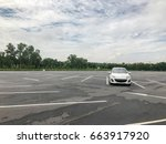 parking lot with one car | Shutterstock . vector #663917920