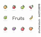 set of colorful fruit icons...