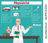 physiatrist and medical... | Shutterstock .eps vector #663923203