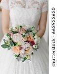 soft and tender bridal bouquet...   Shutterstock . vector #663923620