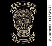 day of the dead. dia de los... | Shutterstock .eps vector #663924154