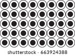 black dotted in circle pattern... | Shutterstock .eps vector #663924388