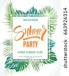 summer party poster. hand... | Shutterstock .eps vector #663926314