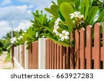 wood and metal fence of... | Shutterstock . vector #663927283