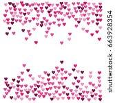 vector hearts confetti. pink... | Shutterstock .eps vector #663928354