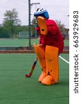 field hockey goalie in practice ... | Shutterstock . vector #663929683