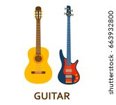 music instrument icon. guitar.... | Shutterstock .eps vector #663932800