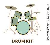 music instrument icon. drum kit.... | Shutterstock .eps vector #663932830