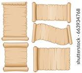 ancient parchment vector... | Shutterstock .eps vector #663934768