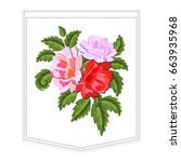 peonies or red roses embroidery ... | Shutterstock .eps vector #663935968
