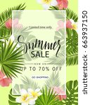 summer sale banner  poster with ... | Shutterstock .eps vector #663937150