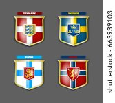 vector flags and coats of arms... | Shutterstock .eps vector #663939103