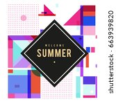 trendy vector summer cards... | Shutterstock .eps vector #663939820