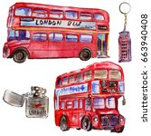 watercolor london illustration. ... | Shutterstock . vector #663940408