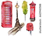 watercolor london illustration. ... | Shutterstock . vector #663940588