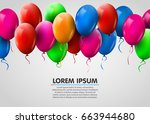 3d realistic colorful bunch of... | Shutterstock .eps vector #663944680