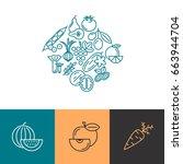digital blue vegetable icons... | Shutterstock .eps vector #663944704