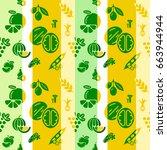 digital green yellow vegetable... | Shutterstock .eps vector #663944944