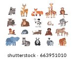 cute animals with babies set.... | Shutterstock . vector #663951010