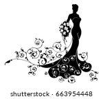 wedding bride wife in... | Shutterstock .eps vector #663954448