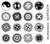 set monochrome round objects.... | Shutterstock .eps vector #663955279