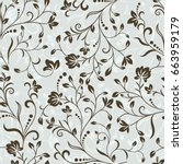 Seamless Grey And Brown Floral...