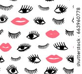 hand drawn eye  pink lips... | Shutterstock .eps vector #663960778